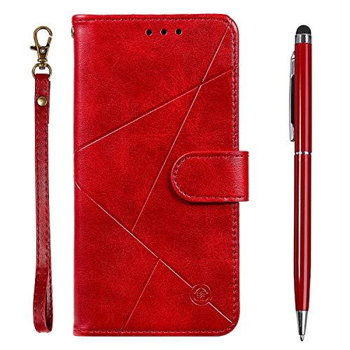 TOUCASA Funda LG K40,Carcasa LG K40,PU Cuero Slim Case de Estilo Billetera Carcasa TPU Silicona Case Interna Suave [Prismático] [Cierre Magnético] Funda para LG K40(Rojo)