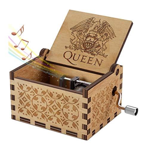 Evelure Carillon di Legno Tema di Queen, Merry Christmas,Scatole Musicali in Legno Intagliate a Mano e Intagliate a Mano Creativi I Migliori Regali (QA-Wood)