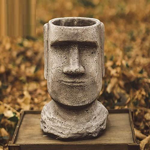 LOSAYM Escultura Decoración Estatuas Figuritas Estatuas Figuritas Decoración Europeo Retro Pascua Moai Buda Cabeza Maceta Retrato Arte Maceta Maceta Planta Al Aire Libre Jardín Habitación Estudio P