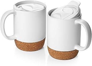 DOWAN Coffee Mugs Set of 2, 15 OZ Ceramic Mug with Insulated Cork Bottom and Splash Proof Lid, Large Coffee Mug with Handl...