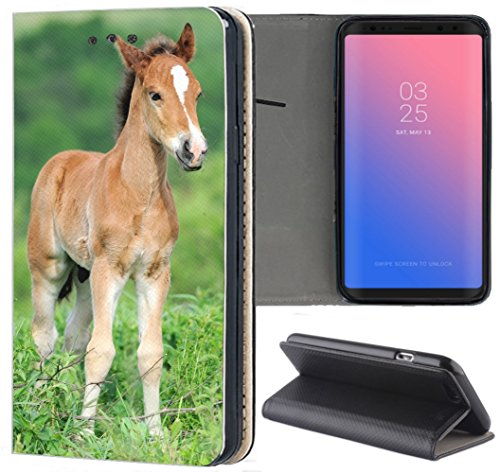 Samsung Galaxy S7 G930F Hülle Premium Smart Einseitig Flipcover Hülle Galaxy S7 Flip Hülle Handyhülle Samsung Galaxy S7 Motiv (1531 Fohlen Pferd Tier Braun)