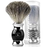 ACRIMAX Luxury Silvertip Badger Shaving Brush and Travel Tube Set, 100% Pure Badger Hair Shave Brush, Fine Resin Handle and Stainless Steel Base, Black Shaving Brushes for Men Father Dad Wet Shave