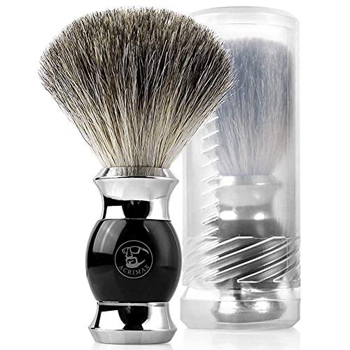 シェービングブラシ ACRIMAX ひげブラシ 純粋アナグマ毛 理容 洗顔 髭剃り 泡立ち