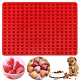 Palksky 255-Cavity Mini Heart Silicone Gummy Mold/Chocolate Drops Mold/Dog Treats Pan/ Heart shape...