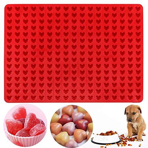 Palksky 255-Cavity Mini Heart Silicone Gummy Mold/Chocolate Drops Mold/Dog Treats Pan/ Heart shape Candy Molds for Ganache Jelly Caramels Cookies Pet Treats Baking Mold