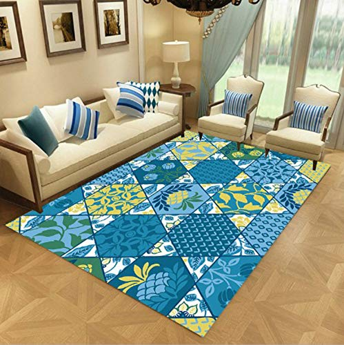WDSZY Geometric Printed Polyester Carpets, Non-Slip Area Rug For Parlor Bedroom, Modern Stain-Resistant Entrance Doormat 120X170Cm