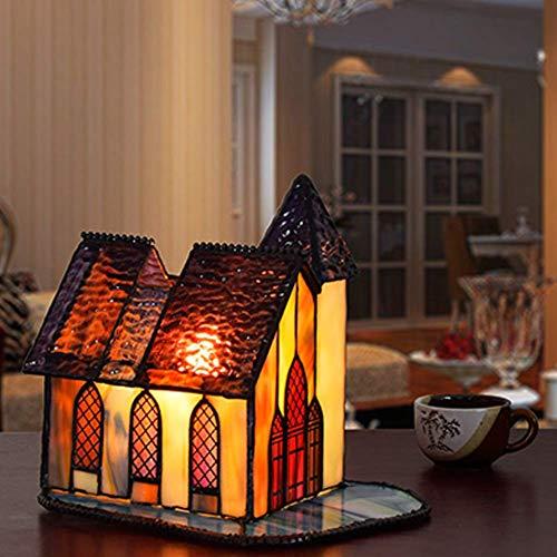 WEM Lámpara de mesa de estilo mini, accesorios de iluminación decorativos, lámpara de escritorio infantil antigua E14, vitral con forma de casa, luz de mesa C,C