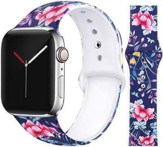 EXCHAR Compatible con Apple Watch Band Floral 1.575in 1.496in 1.732in 1.654in mujer suave y cómoda banda de silicona de repuesto para iWatch Series 4/3/2/1 con patrón de impresión lindo y duradero