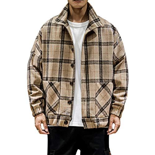 Männer Karierte Jacke Kaschmir Stehen Kragen Knopf Sweatshirt Pullover Flanell beiläufige Plaid Gesteppte Lumberjack lose Werkzeuge Karo Hoodie zufällige Spitze,Brown-L