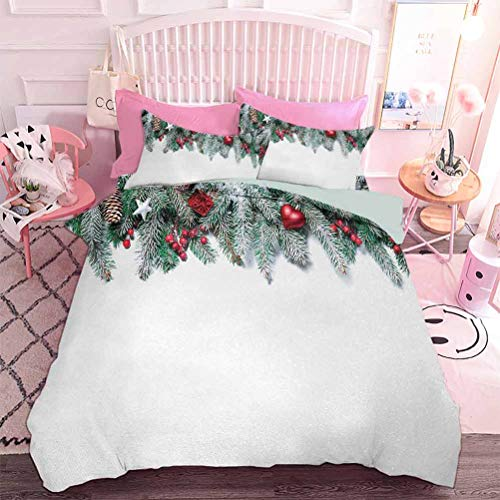 Hiiiman Duvet Cover Set Snowy Xmas Branch with Baubles Stars Berries Cones Mistletoe Yule Nativity Image (3pcs, California King Size) with 2 Pillow Sham