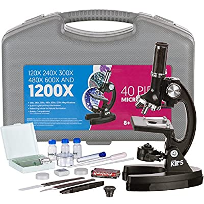 AMSCOPE-Kids M30-ABS-KT1-W 120X-240X-300X-480X-600X-1200X 48pc Metal Arm & Base Educational Kids Biological Microscope Kit