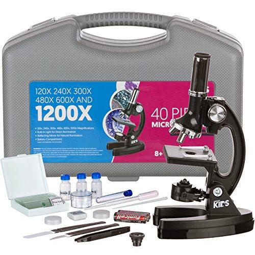 AMSCOPE Biologischer Mikroskop Experimentierkasten mit Präparierzubehör für Kinder & Anfänger Vergrösserungseinstellungen : von 120X - 1200X 48-teiliges Set Mikroskopie