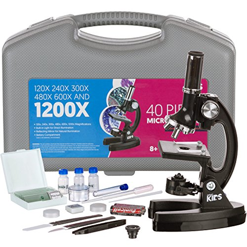 AMSCOPE-KIDS M30-ABS-KT1 Beginner Microscope Kit, LED and Mirror Illumination, 120x - 1200x Six Magnifications, Metal Frame and Base, Includes 48-Piece Accessory Set and Case,Black