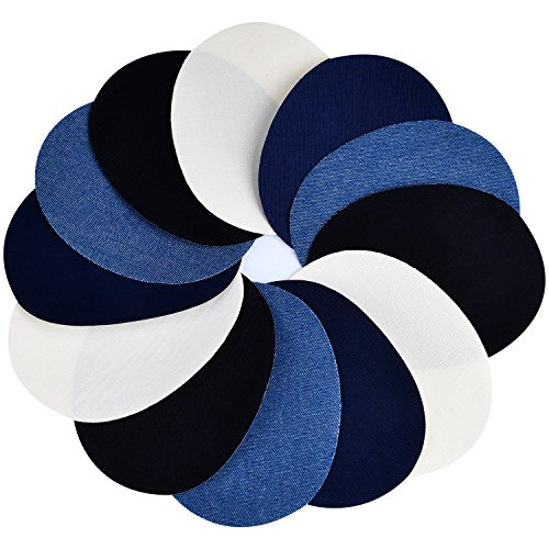 4 Colores 12 Piezas Parches Termoadhesivos Parches de Algodón de Vaqueros Kit de Reparación de Planchar, 5 por 3,9 Pulgadas