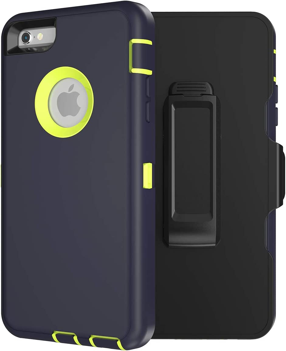 MXX iPhone 6S Heavy Duty Case TPU and PC Case with 360 Degree Rotating Belt Clip for Apple iPhone 6S / iPhone 6 - Silicone TPU and PC - (Navy/Lime Green)