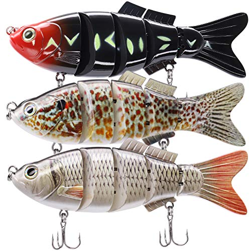 """TRUSCEND Fishing Lures 6.8"""" Saltwater Freshwater Heavy-Duty Metal Jointed Swimbaits Glidebaits Hard Lures Large Fish Lures Fishing Tackle Kits Lifelike"""