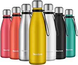 Newdora Insulated Water Bottle 500ml Stainless Steel Water Bottle BPA Free Double-Walled Vacuum Flask for Sports 12 Hours Hot/24 Hours Cold with Cleaning Brush(Yellow)