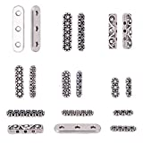Pandahall 180pcs 6 Styles Rectangle Spacer Bar Tibetan Antique Silver 3~6 Hole Multi Strand Connector Link End Bar for Jewelry Making