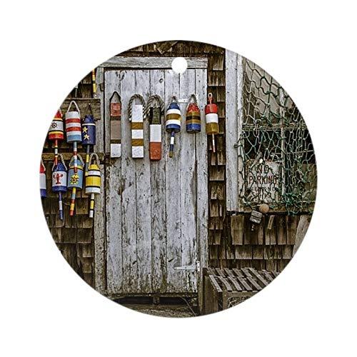 Yilooom Round Ceramic Ornament, Chirstmas Tree Decorative Hanging Bauble, Rockport Door and Window Round Keepsake