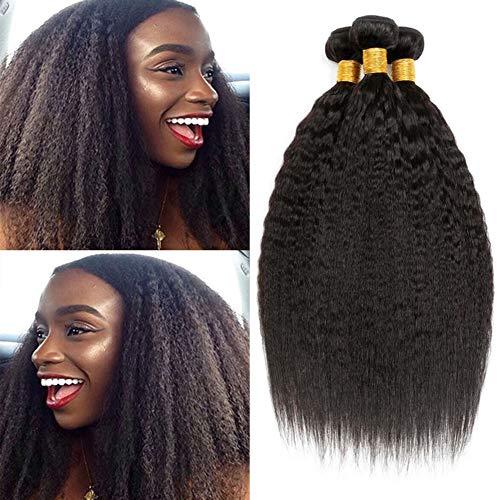 ADOIFAIR 10A Kinky Straight Human Hair 3 Bundles Yaki Straight Human Hair Weave Bundles 100% Unprocessed Brazilian Kinky Straight Virgin Human Hair Bundles Sew in Hair Extensions Natural Black