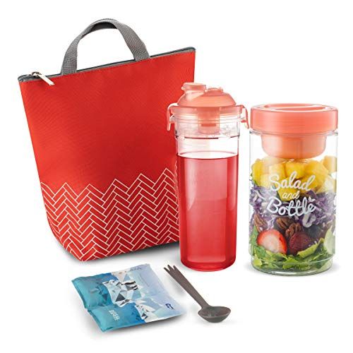 Komax Lunchmate Insulated Lunch Bag For Women - Cute Lunch Box Set - Waterproof Lunch Bag for Ladies (small), Reusable Salad Container (33-oz), Matching Water Bottle (20-oz), Utensils & Ice Pack - Red