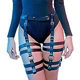 Womens PU Leather Waist Leg Caged Body Harness Punk Gothic Garter Belt Adjustable(DWD-05)