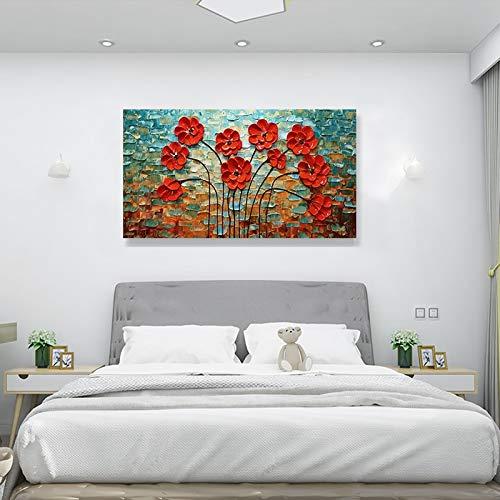 HUAYOUZXM 3D handgeschilderd olieverfschilderij rode bloemen muurschilderijen interieurschilderijen woonkamer slaapkamer muurschilderijen No Frame 90 x 180 cm.