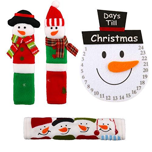 LUTER 4 piezas de Cubiertas de Manija de Puerta de Refrigerador de Navidad, Protector de Manija de Puerta de Horno Microondas para Nevera Decoración de Electrodomésticos de Cocina