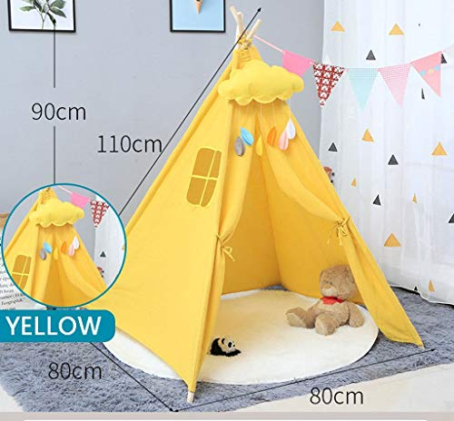LAMPSJN Teepee for Kids Play Tent Indoor and Outdoor,Children Playhouse for boys girls Birthday Gift,Great for Playroom, Bedroom, Nursery, Photography Props (without Cushions and Trim),4 Poles Cotton