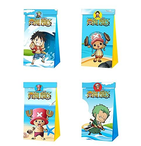 12pcs One Piece Party Gift Bag Bolsas de dulces de cumpleaños Luffy Bolsa de papel reutilizable Kids Party Cajas para suministros de fiesta de cumpleaños temáticos Regalar para niños