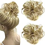 2 PCS Messy Scrunchie Hair Bun Extension Elastic Band Wavy Chignon Updo Hairpiece-Light