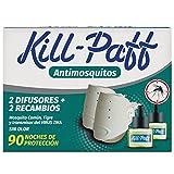 Kill Paff | Insecticida Eléctrico | Antimosquitos| Eficaz Contra Mosquito Tigre y Transmisores de Enfermedades Tropicales, 2 difusores x 2 recambios