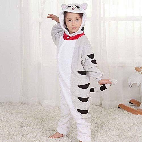 JJHR Pyjama Chat Kigurumis Enfant Onesie Enfant Animal Dans l'ensemble garçon fille Hiver Sommeil Costume flanelle Doux Mignon Festival Pyjama Kitty Combinaison-UNE_130