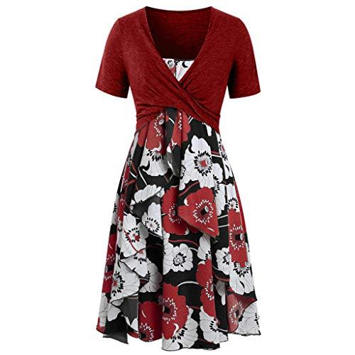 Damen Kleider,Sommerkleid Ulanda Frauen Teenager Mädchen T-Shirt Kleid Elegant Knielang Kleider Casual Lose Tunika Kurzarm Shirtkleider Blumenmuster Freizeitkleid Party Cocktailkleid