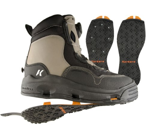 Korkers Whitehorse Wading Boot with Kling-On and Studded Kling-On Outsoles, Timberwolf/Black, 8