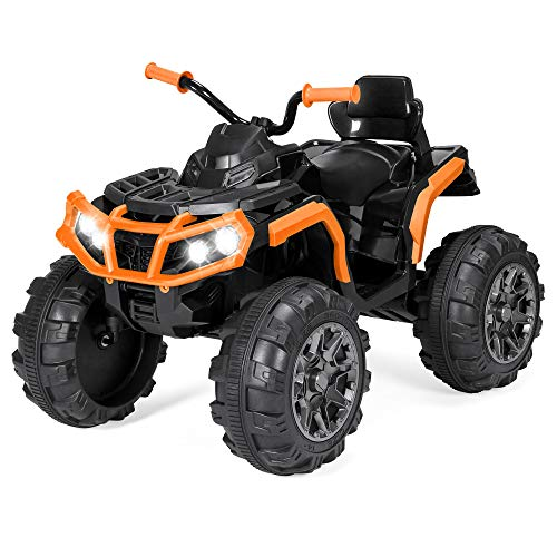 Best Choice Products 12V Kids 4-Wheeler ATV Quad Ride On Car Toy w/ 3.7mph Max, LED Headlights, AUX Jack, Radio - Orange