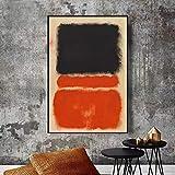 FANYUEART Póster de Mark Rothko Pintura clásica en Lienzo Color Naranja y Negro Cuadros artísticos para Pared decoración de Pared para decoración de Sala de Estar 60x90cm 24'x35' (sin Marco)