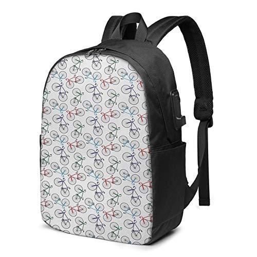 Laptop Rucksack Business Rucksack für 17 Zoll Laptop, Unordentliche Rennräder ungeordnet Schulrucksack Mit USB Port für Arbeit Wandern Reisen Camping, für Herren Damen