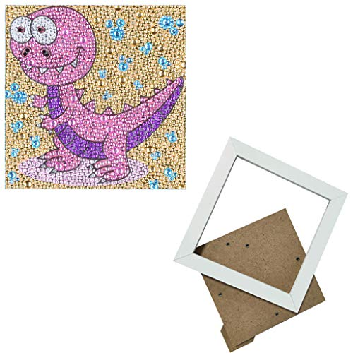 sunnymi 5D Diamond Painting, Children's DIY Cross Stitch Embroidery Full Drill Inserted Handmade Adhesive Picture Diamond Painting Wall Decoration (Dinosaur D, with Photo Frame 15 x 15 cm)