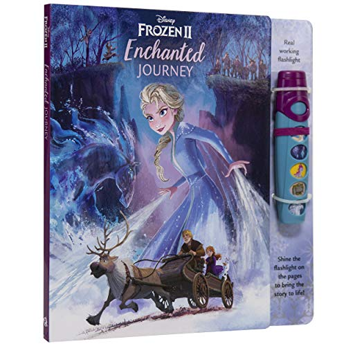 Disney Frozen 2 Elsa, Anna, Olaf and More! - Enchanted Journey - Sound Book and Interactive Sound Flashlight Toy Set - PI Kids (Play-A-Sound)