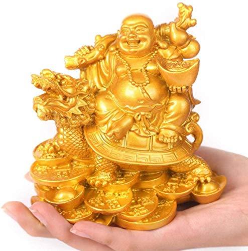 DFJU Feng Shui Chinês Colecionável Estátua do Buda Rindo Resina Decoração do Buda Maitreya Ornamento de Casa e Escritório Atraia Riqueza e Boa Sorte (Cobre), Cor: Ouro Artesanato