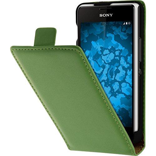 PhoneNatic Kunst-Lederhülle kompatibel mit Sony Xperia E1 - Flip-Hülle grün + 2 Schutzfolien