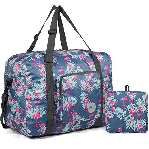 WANDF Leichter Faltbare Reise-Gepäck Handgepäck Duffel Taschen Übernachtung Taschen/Sporttasche für Reisen Sport Gym Urlaub Weekender handgepaeck (C - 40L Blauer Flamingo)