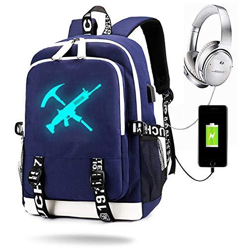 Game Luminous Backpack with USB Charging Port, Unisex Fashion College School Bookbag Daypack Travel Backpack (Blue Gun)