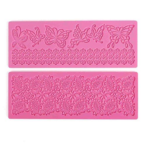 2x Moule Décoratif En Silicone Gâteaux Et Tartes Pâte À Sucre Artisanales - Motif Papillons Fleurs Dentelle by TARGARIAN