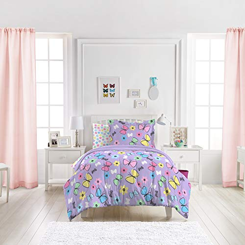 Dream Factory Sweet Butterfly Ultra Soft Microfiber Girls Comforter Set, Purple, Twin