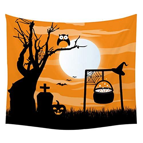 N/A Impresión 3D de tapices Calabaza Fiesta de Halloween Tapiz Noche Luna Poliéster Colgante de Pared Decoración para niños Estera de Yoga Negra Mantel Tapiz de Pared Regalo de Arte