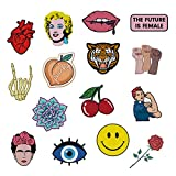The Carefree Bee - Large Assorted Set of 15 Aesthetic, Hipster and Feminist Iron On Patches for Jackets Backpacks Jeans and Clothes | Each Embroidered Patch is Durable and Sticks To All Fabric (Set 1)