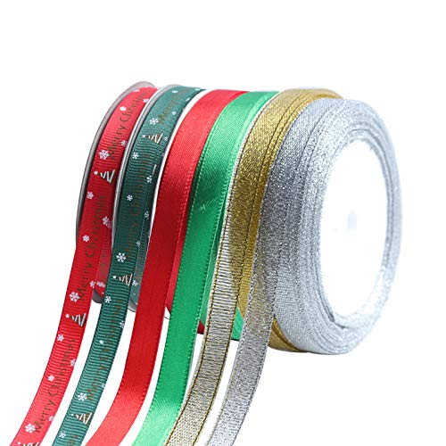 Linsoir Beads Merry Christmas Ribbons 2/5'' Gift Ribbon for Gifts Wrapping 150 Yards Mix Designs Holiday Grosgrain Satin Ribbon Set Christmas Designs Crafts & Supplies