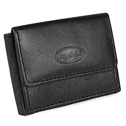 Sehr Kleine Geldbörse, Mini Portemonnaie Größe XS, Echt-Leder, für Damen und Herren, Schwarz, Branco 103